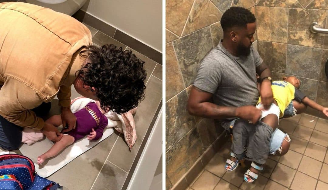The struggles of being a Dad using toilets with no Baby Changing Facilities #squatforchange